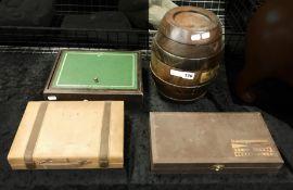 REMY MARTIN BRANDY BARREL & GAMES BOX ETC