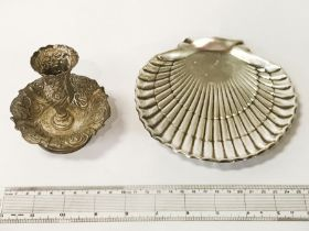 SILVER SHELL WITH A SMALL SILVER CANDLESTICK - APPROX. 8 ozs