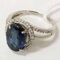 18CT GOLD DIAMOND & GEMSTONE RING SIZE M/N