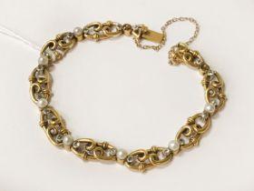 HIGH CARAT GOLD SEED PEARL & DIAMOND BRACELET - 17.6 grams