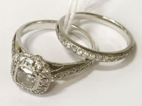 PLATINUM & DIAMOND TWIN RING SET WITH CENTRE SQUARE - DIAMOND APPROX 0.75CT - SIZES N