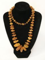 BUTTERSCOTCH AMBER NECKLACE - APPROX. 34 INCHES - 64 grams