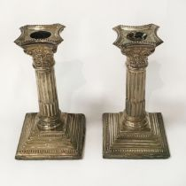 PAIR OF H/M SILVER CANDLESTICKS - HEIGHT 17cms