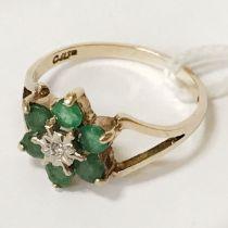 9 CT. GOLD EMERALD DIAMOND RING - SIZE L