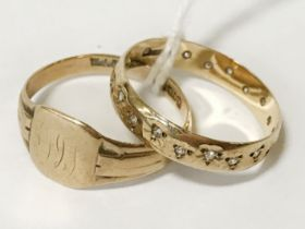 TWO 9CT GOLD RINGS - SIZES M / N