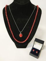 STERLING SILVER RED CORAL JEWELLERY