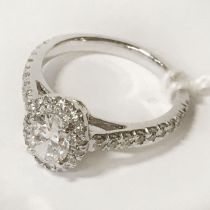 OVAL SHAPED DIAMOND PLATINUM RING CENTRE STONE IS 0.70 CARATS - SIZE K-L