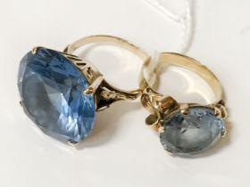 14CT GOLD & BLUE STONE RING & ANOTHER SIMILAR - SIZES N / P