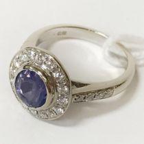 18CT WHITE GOLD DIAMOND & GEMSTONE RING - SIZE J