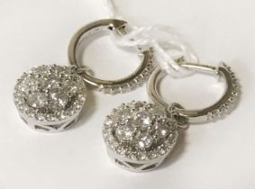 18 CT. WHITE GOLD DROP CLUSTER EARRINGS 1.50 CARATS TOTAL DIAMONDS WEIGHT