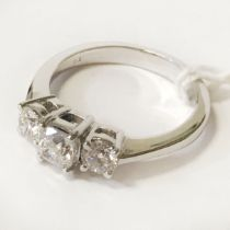 PLATINUM TRILOGY RING CENTRE DIAMOND IS 0.50 CARATS E COLOUR VS1 WITH GIA CERTIFICATE TOTAL WEIGHT