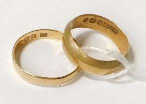 TWO 22CT GOLD BANDS - RING SIZE K - APPROX 6 GRAMS