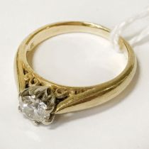 18CT GOLD DIAMOND SOLITAIRE RING - STONE SIZE APPROX 0.50 CT - RING SIZE L/M