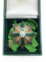 MILITARY AND HOSPITALLER ORDER OF ST. LAZARUS OF JERUSALEM BADGE TOGETHER WITH MINIATURE