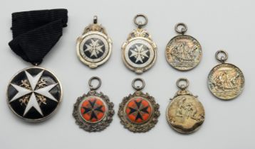 THE ORDER OF ST JOHN MEDAL & SEVEN HALLMARKED SILVER MEDALS