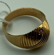 14CT GOLD & RUBY RING SIZE V/W