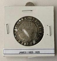 ENGLAND HAMMERED COIN 1 SHILLING JAMES I (1603-1625)