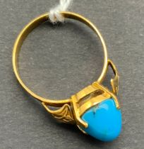 14CT GOLD & TURQUOISE RING SIZE P/Q