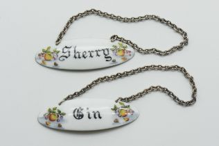 PAIR OF HALLMARKED SILVER AND ENAMEL DECANTER LABELS (SHERRY & GIN)