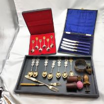 SIX SILVER CHINESE SPOONS & OTHER ITEMS