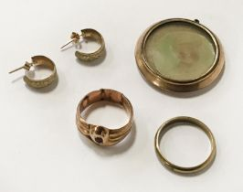 8CT GOLD RING & OTHER GOLD & YELLOW METAL ITEMS