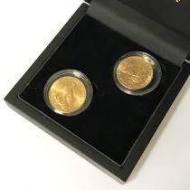 PAIR OF GOLD US TEN DOLLAR COINS STRUCK IN 22CT DATES 1882 &1913