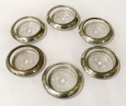 SET 6 STERLING SILVER & GLASS COASTERS