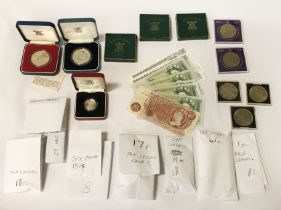 COLLECTION OF COINS - SOME SILVER & BANKNOTES