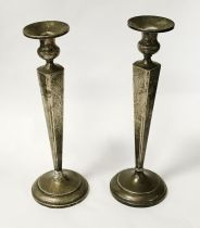 PAIR STERLING SILVER TALL CANDLESTICKS