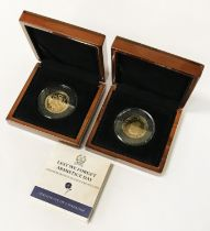 TWO DOUBLE CROWN GOLD COINS - MINT CONDITION
