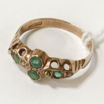 9CT GOLD EMERALD RING - SIZE L