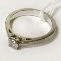 18CT WHITE GOLD SOLITAIRE DIAMOND RING - SIZE O