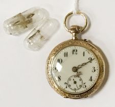 14CT GOLD ENAMELLED FOB WATCH - 15 CM (FACE ONLY)
