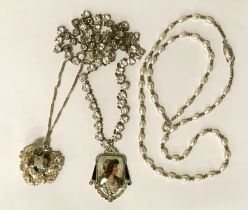 ANTIQUE COSTUME JEWELLERY NECKLACE WITH SILVER PYRITE PENDANT & CHAIN WITH PEARL NECKLACE WITH