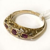 RUBY & DIAMIND RING - SIZE L