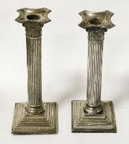 PAIR OF HM SILVER CORINTHIAN COLUMN CANDLESTICKS - 24 CMS (H)