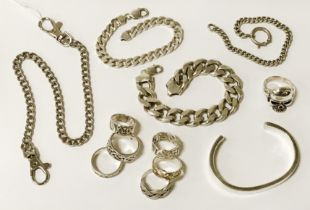 COLLECTION OF SILVER JEWELLERY - 9 OZS