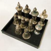 10 STERLING SILVER SALT & PEPPER POTS - 25 OZS TOTAL (WEIGHTED)