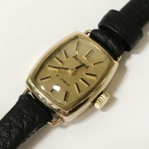9CT GOLD ACCURIST WATCH - 10 MM (FACE ONLY)