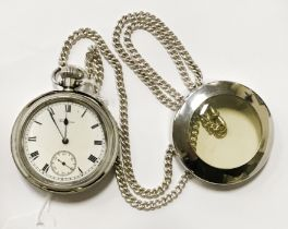 SILVER POCKET WATCH WITH ALBERT CHAIN 70 CM LENGTH - NEEDS NEW GLASS