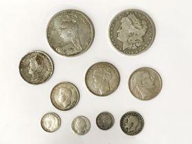 MIXED WORLD SILVER COINS
