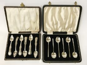 TWO CASED SETS OF SILVER SPOONS