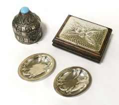 PAIR OF HM SILVER PIN TRAYS , SILVER TOP BOX & METAL JEWELLERY BOX WITH BLUE STONE