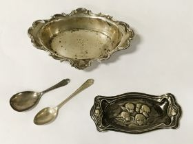 ART NOUVEAU HM SILVER PIN TRAY WITH ANOTHER HM SILVER PIN TRAY & TWO HM SPOONS - 140 GRAMS