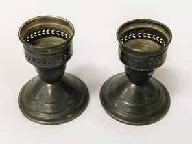 PAIR OF STERLING SILVER CANDESTICKS - 9 OZS (WEIGHTED)