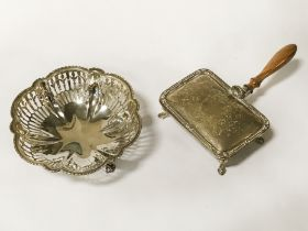 H/M SILVER DISH & SILVER CASKET WITH HANDLE