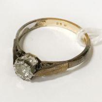 18CT GOLD SOLITAIRE RING - SIZE L