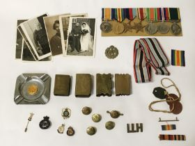 WW1 & WW2 GROUP OF 7 MEDALS INCL. TERRITORIAL EFFICIENCY SERVICE MEDAL TO PTE S.HALL