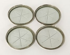 SET OF 4 STERLING SILVER & GLASS COASTERS