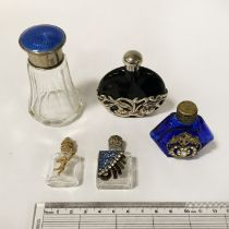 HM SILVER PERFUME BOTTLE WITH ENAMEL TOP & 4 OTHERS